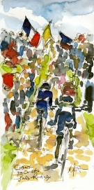 Cycling art, Close to the corwds, by Maxine Dodd, watercolour, pen and ink