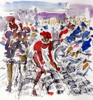 Cycling art, Cobbles, by Maxine Dodd, watercolour, pen and ink
