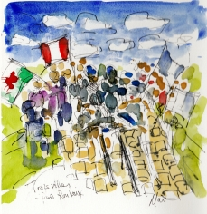 Trois villes, Paris-Roubaix, by Maxine Dodd, watercolour, pen and ink