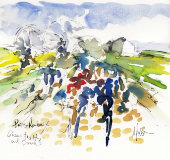 Cycling art, Green fields and pavés, by Maxine Dodd, watercolour, pen and ink
