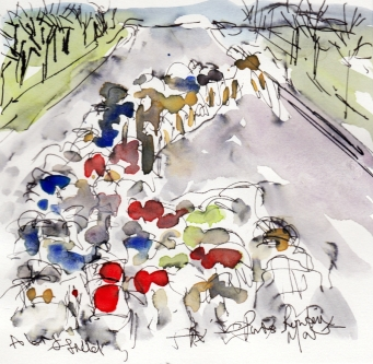 Cycling art, A big field, by Maxine Dodd, watercolour, pen and ink