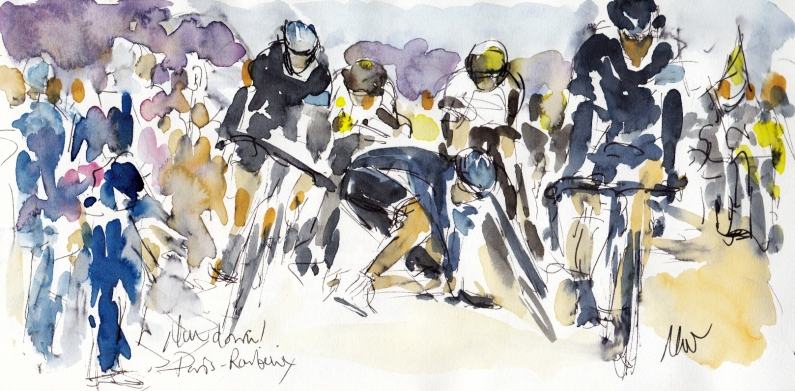 Cycling art, Man down! by Maxine Dodd, watercolour, pen and ink
