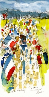 Cycling art, Crowds on the cobbles, by Maxine Dodd, watercolour, pen and ink