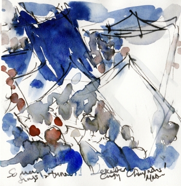 So many flags and banners! Watercolour, pen and ink, by Maxine Dodd