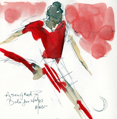 Football art, Wales, Bale, red