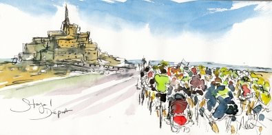 Cycling Art, Tour de France, Stage 1: Départ, by Maxine Dodd, watercolour pen and ink