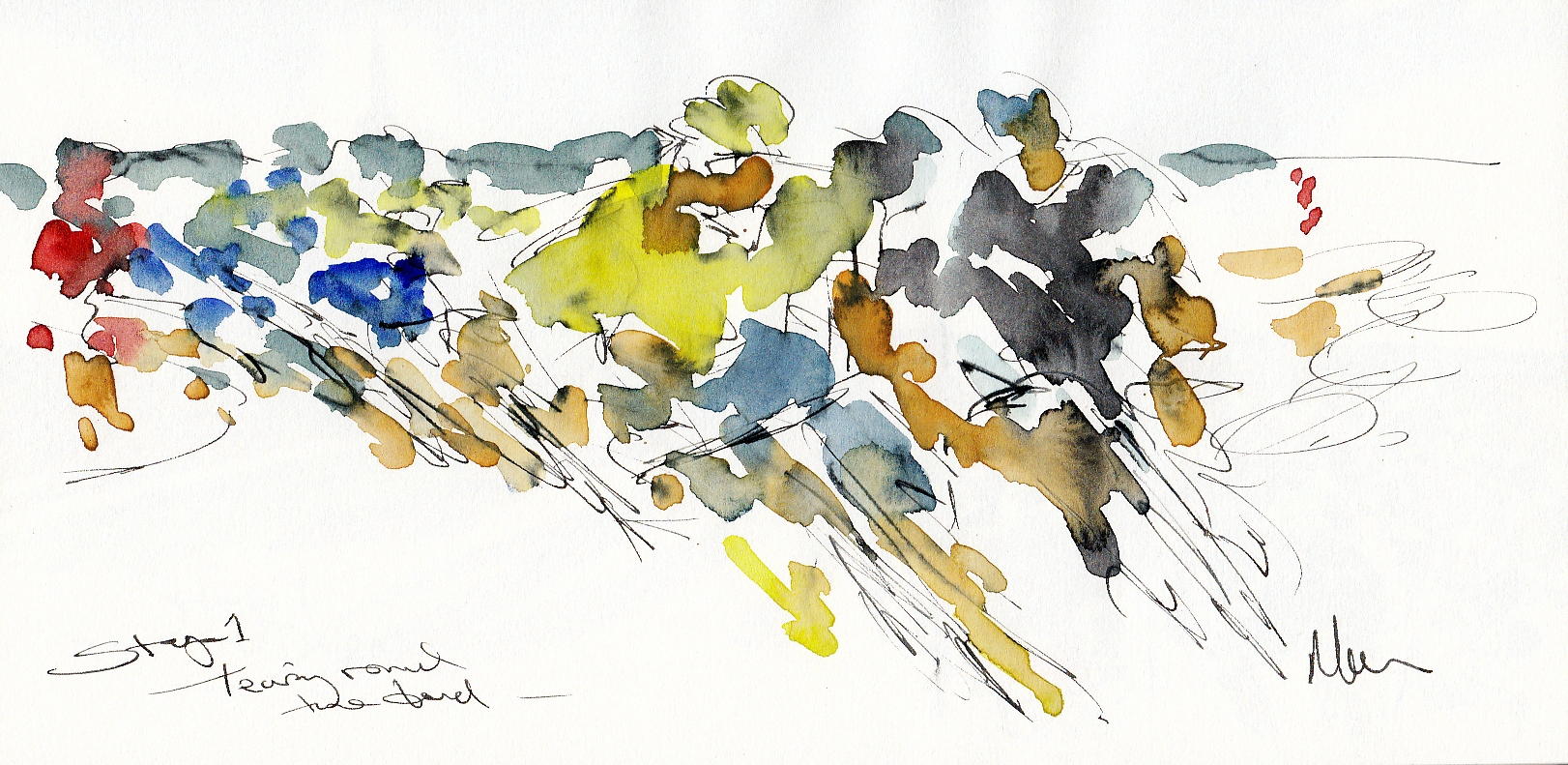 Cycling art, Tour de France, Tearing round the bend by Maxine Dodd, watercolour, pen and ink