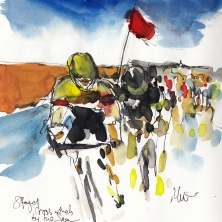 Cycling art, Tour de France, Crossiwnds by the sea by Maxine Dodd, watercolour, pen and ink
