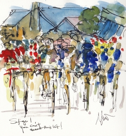 Tour de France, cycling art, You can't beat this lot! by Maxine Dodd, watercolour, pen and ink
