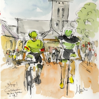 Tour de France, cycling art, Celebration - The game is up by Maxine Dodd, watercolour, pen and ink
