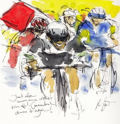 Tour de France, cycling art, Just when everyone writes him off, Cavendish does it again! by Maxine Dodd, watercolour, pen and ink