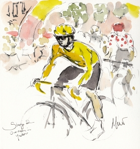 Cycling art, Tour de France, Our man in Yellow, Maxine Dodd