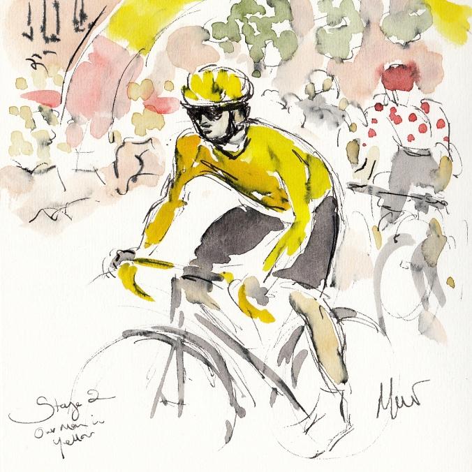 Cycling art, Tour de France, Our man in Yellow, Maxine Dodd