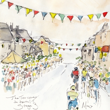 Tour de France, cycling, art, The Tour comes to town! by Maxine Dodd