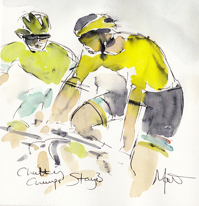 Tour de France, cycling, art, Chatting Champs! by Maxine Docc