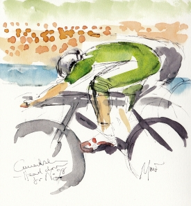 Tour de France, cycling, art, Cavendish - Head down for No.28, by Maxine Dodd