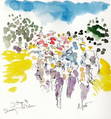 Tour de France, Cycling, art, Sunny peloton, by Maxine Dodd