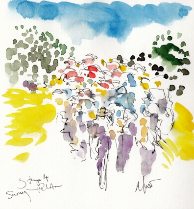 Tour de France, Cycling, art, Sunny peloton, by Maxine Dodd