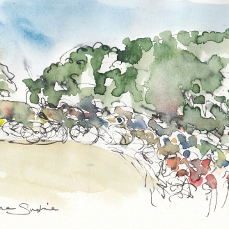Tour de France, cycling, art, Riding in the sunshine by Maxine Dodd