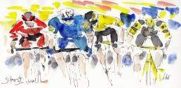 Tour de France, cycling, art, So close! by Maxine Dodd