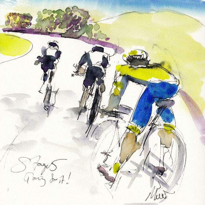 Tour de France, cycling art, Going for it by Maxine Dodd