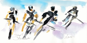 Tour de France, Cycling Art, Team Sky descent, by Maxine Dodd