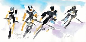 Tour de France, Cycling Art, Team Sky descent, by Maxine Dodd