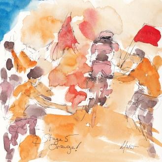Tour de France, cycling art, Orange! by Maxine Dodd
