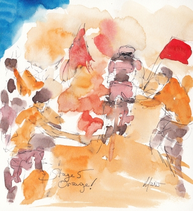 Tour de France, cycling art, Orange! by Maxine Dodd