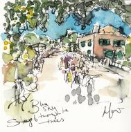 Tour de France, cycling, art, Blue sky through the trees by Maxine Dodd
