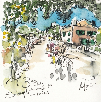 Tour de France, cycling, art, Blue sky through the trees by Maxine Dodd
