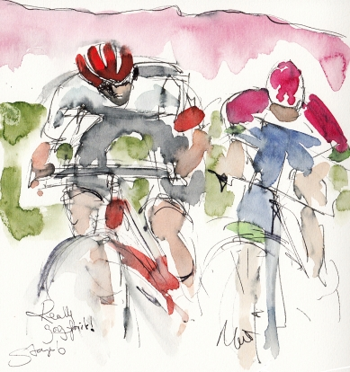 Tour de France, cycling art, Really going for it! by Maxine Dodd
