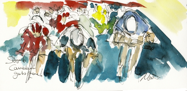 Tour de France, cycling art, Cavendish gets there! by Maxine Dodd