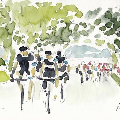 Tour de France, cycling art, Leafy avenue by Maxine Dodd