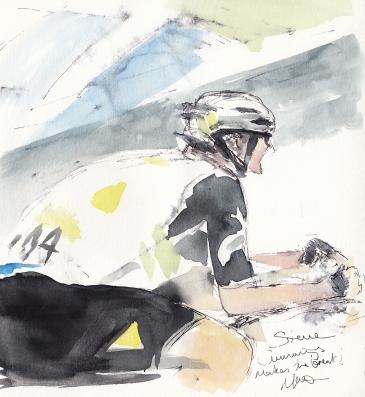 Tour de France, cycling, art, Steve Cummings makes the break!