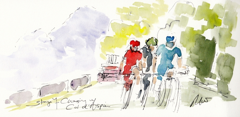 Tour de France, cycling art, Chasing up the Col d'Aspin by Maxine Dodd