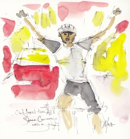 Tour de France, cycling art, Outfoxed them all! Steve Cummings wins Stage 7, Maxine Dodd