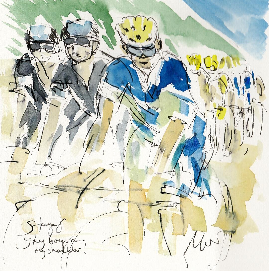 Tour de France, cycling art, Sky boys on my shoulder, Maxine Dodd