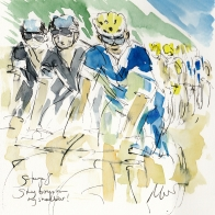 Tour de France, cycling art, Sky boys on my shoulder, Maxine Dodd