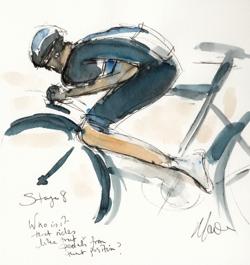 Tour de France, cycling, art, Who is it that rides like that and pedals from that position? Maxine Dodd