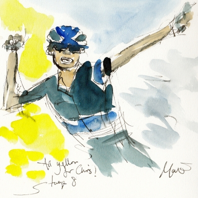 Tour de France, cycling, art, All yellow for Chris! by Maxine Dodd