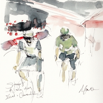 Tour de France, cycling, art, A long day! Eisel and Cavendish by Maxine Dodd