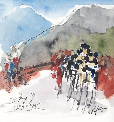 Tour de France, cycling, art, Sky and BMC by Maxine Dodd