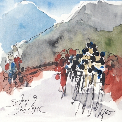 Tour de France, cycling, art, Sky and BMC by Maxine Dodd