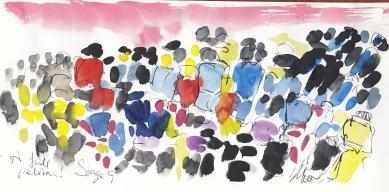 Tour de France, cycling, art, A full peloton! by Maxine Dodd
