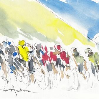 Tour de France, cycling art, The peloton in Andorra by Maxine Dodd