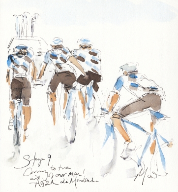 Tour de France, cycling art, Coming to the aid of our man! AG2R La Mondial by Maxine Dodd