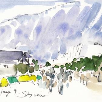 Tour de France, cycling, art, Sky arrive by Maxine Dodd