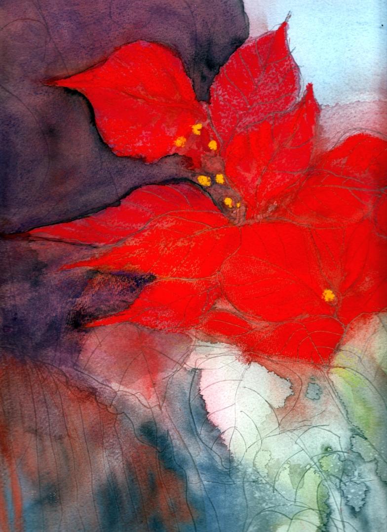 Red velvet, poinsettia painting