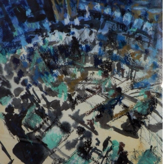 SOLD - Orchestra in blue and gold